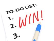 Numbered To Do List with the Word Win Royalty Free Stock Photo