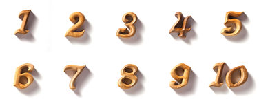 Numberic by wooden. Beautiful wooden numeric with shadow isolated Stock Photos