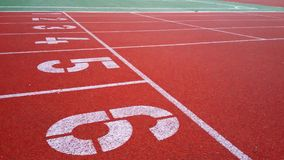 Numbering cross-country sports rubberized red track Stock Photography