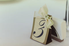 Numbering tables at the wedding Royalty Free Stock Photo