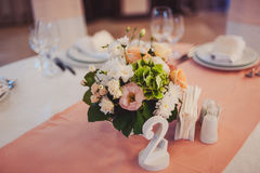 Numbering tables at the wedding Stock Photography
