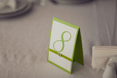 Numbering tables at the wedding Stock Image
