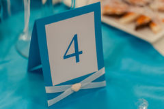 Numbering tables at the wedding Stock Photos