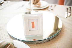 Numbering of wedding tables Stock Photo