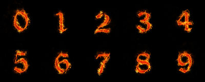 Numbers 0-9 in flames. Old font, numbers 0-9 in flames Stock Photo