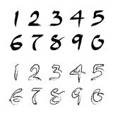 Numbers 0-9 Written With A Brush Royalty Free Stock Photos