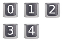 Numbers 0 to 4 Stock Photography