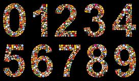 Numbers 0 to 9 made of assorted pills Royalty Free Stock Images