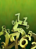 Numbers. Composition on a green background. Digital illustration Stock Images