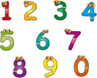 Numbers. Colored numbers with eyes and necklace Stock Photo