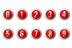 Numbers. Gray numbers in red buttons royalty free illustration