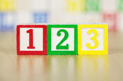 The Numbers 123 in Alphabet Building Blocks. The Numbers 123 in Colorful Alphabet Building Blocks Stock Photos