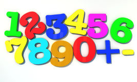 Numbers 1234. 123 Multicolor numbers over white background Stock Photos