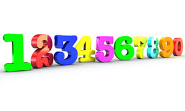 Numbers 1234. 123 Multicolor numbers over white background Stock Photo