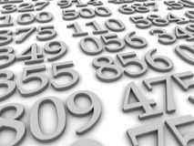 Numbers. Black and white numbers background. 3d rendered illustration Stock Images