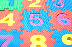 Numbers. From one to nine made of puzzle stock photo