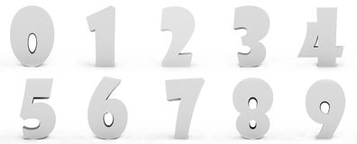 Numbers. Grey numbers isolated on white background Stock Images