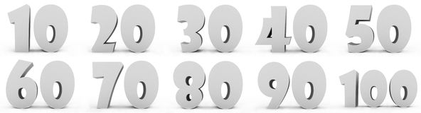 Numbers. Grey numbers isolated on white background Royalty Free Stock Images
