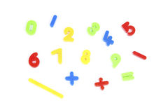 Numbers. From 0 to 9 and some of mathematical signs in different colors on white Royalty Free Stock Photo