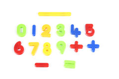 Numbers. From 0 to 9 and some of mathematical signs in different colors on white Stock Photography