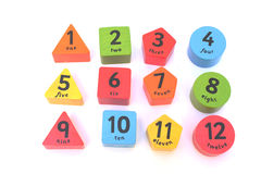 Numbers 2. Color shaped numbers from one to ten Stock Images
