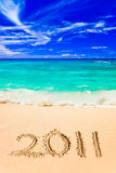 Numbers 2011 on beach Royalty Free Stock Photos
