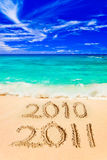 Numbers 2011 on beach Royalty Free Stock Photo