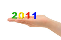 Numbers 2011 in hand Stock Photography