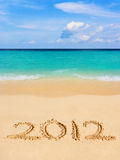 Numbers 2012 on beach Royalty Free Stock Photo