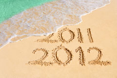 Numbers 2012 on beach. Concept holiday background Royalty Free Stock Photo