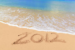 Numbers 2012 on beach Stock Photos