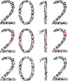 Numbers 2012 year  silhouettes Stock Image