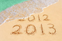 Numbers 2013 on beach. Concept holiday background royalty free stock images