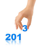Numbers 2013 and hand Royalty Free Stock Photo