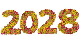 Numbers 2028 Made From Zinnias Flowers Royalty Free Stock Photos