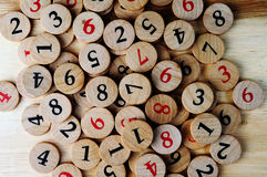 Numbers. Wooden numbers, random choice. Lucky concept Royalty Free Stock Image