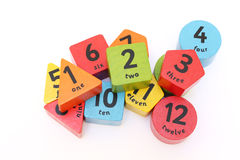 Numbers. On colorful shaped blocks Royalty Free Stock Photos