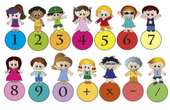 Numbers. Illustration of a colorful numbers with children Royalty Free Stock Images