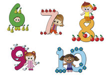 Numbers. Stock 2: numbers with children and objects Stock Image