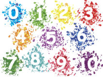 Numbers. Of spray colored background Stock Image