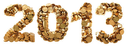 Numbers. New 2013 year from the golden coins. isolated on white Royalty Free Stock Photo