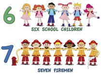 Numbers. Stock 3 number with cartoon children Stock Photography