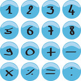 Numbers. 1 to 9 and the math signs Royalty Free Stock Images