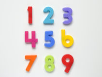 Numbers. Children's magnetic brightly coloured numbers from 1 to 9 Stock Image