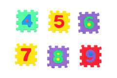 Numbers 4, 5, 6, 7, 8, 9. Numbers 4 to 9, like puzzle, isolated on white background Royalty Free Stock Image