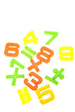 Numbers. Mathematical numbers and symbols over white Royalty Free Stock Photo