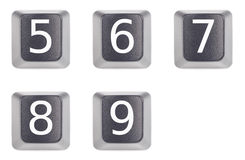 Numbers 5 to 9 five to nine Royalty Free Stock Photo