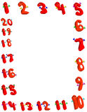 Numbers. Happy number border,Illustration.One through twenty over white background Royalty Free Stock Image