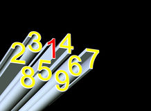 Numbers. 3d rendering numbers on black background Stock Images