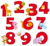 Numbers. Illustration of numers from 0 to 9 with animal elements Royalty Free Stock Image